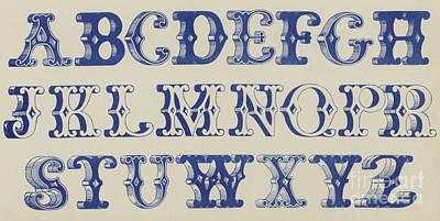 Ornamental Font Art Print by English School