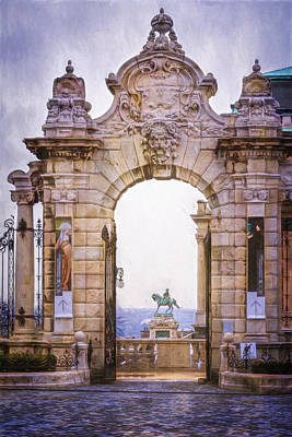 Budapest Sights Photograph - Ornamental Gateway Buda Castle by Joan Carroll
