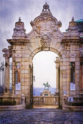 Ornamental Gateway Buda Castle Art Print by Joan Carroll