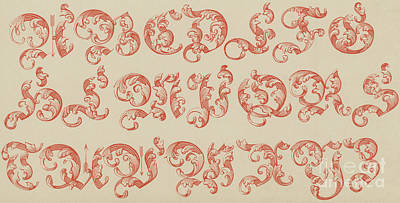 Typographic Drawing - Ornamental German, Large Red Font by English School