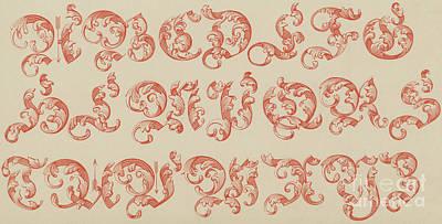 Ornamental Drawing - Ornamental German, Large Red Font by English School