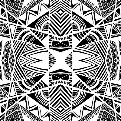 Ornamental Intersection - Abstract Black And White Graphic Drawing Art Print by Nenad Cerovic