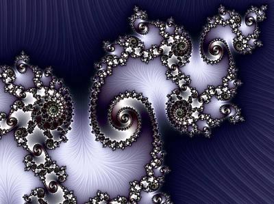 Design Digital Art - Ornamental Jewels On Indigo Abstract by Georgiana Romanovna