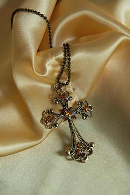 Bronze Cross Pendant Photograph - Ornamented Cross Pendant by Jaroslaw Blaminsky