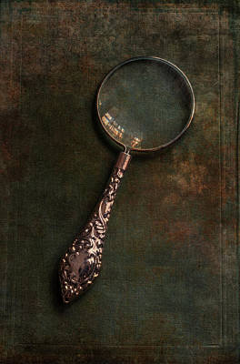 Photograph - Ornamented Magnifying Glass  On Old Green Book  by Jaroslaw Blaminsky