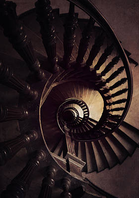 Photograph - Ornamented Spiral Staircase In Brown Tones by Jaroslaw Blaminsky