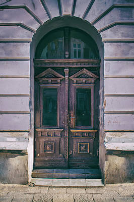 Ornamented Wooden Gate In Violet Tones Art Print