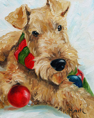 Airedale Terrier Painting - Ornaments  by Mary Sparrow