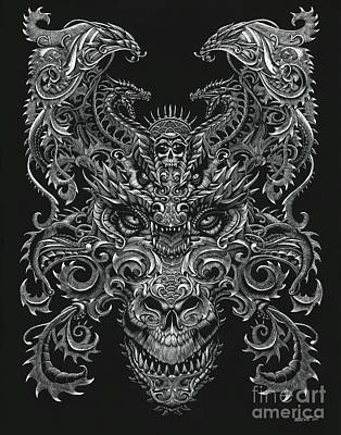 Drawing - Ornate Dragon by Stanley Morrison