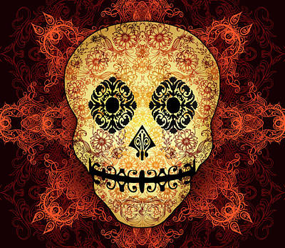 Ornate Floral Sugar Skull Art Print by Tammy Wetzel