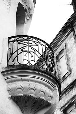 Photograph - Ornate French Balcony In Mono by Georgia Fowler