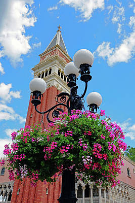 Photograph - Ornate Lamp Post With Hanging Flower Basket by Richard Rosenshein