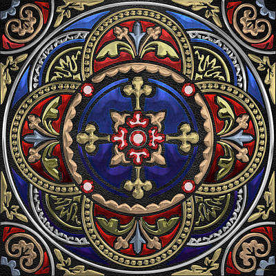 Digital Art - Ornate Medieval Sacred Celtic Cross Over Black Leather  by Serge Averbukh