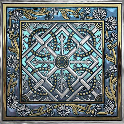 Digital Art - Ornate Medieval Sacred Celtic Cross Over Blue Leather  by Serge Averbukh