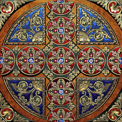 Digital Art - Ornate Medieval Sacred Celtic Cross Over Brown Leather by Serge Averbukh