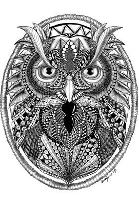 Drawing - Ornate Owl by Becky Herrera