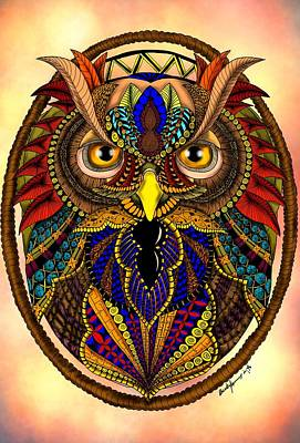 Digital Art - Ornate Owl In Color by Becky Herrera