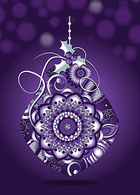 Digital Art - Ornate Purple Christmas Ornament Greeting Card by Serena King