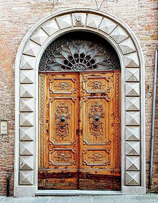 Photograph - Ornate Wooden Door Citta Della Pieve 2 by Dorothy Berry-Lound