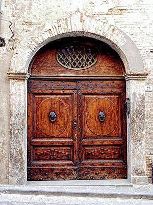Photograph - Ornate Wooden Door Citta Della Pieve 4 by Dorothy Berry-Lound