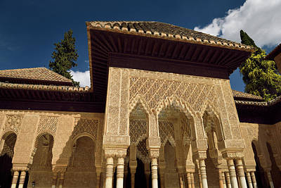 Caligraphy Photograph - Ornately Decorated Stiled Arches In The Courtyard Of The Lions A by Reimar Gaertner