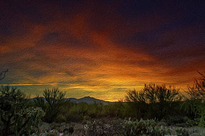 Digital Art - Oro Valley Sunset Op3 by Mark Myhaver