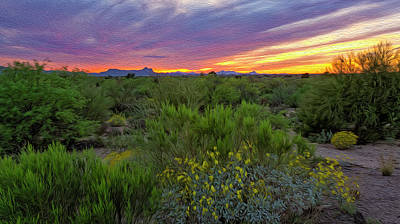 Digital Art - Oro Valley Sunset Op36 by Mark Myhaver