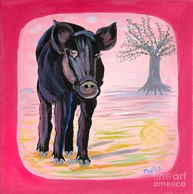 Painting - Orphaned Tiny Pig Adopted By Black Calf Story by Phyllis Kaltenbach