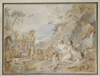 Charles-joseph Natoire Drawing - Orpheus Charming The Nymphs, Dryads, And Animals by Charles-Joseph Natoire