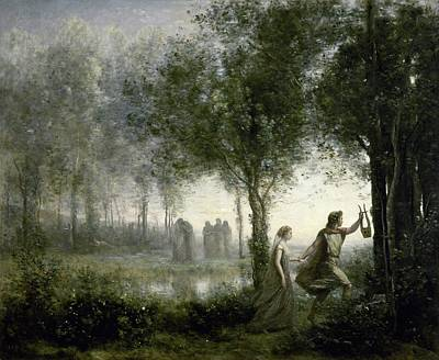 Painting - Orpheus Leading Eurydice  by Jean Corot