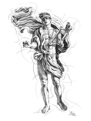 Male Nude Drawing Drawing - Orpheus by Manolo Yanes Fine Art