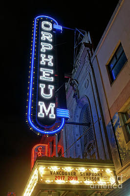 Photograph - Orpheum Theatre At Night Vancouver by John  Mitchell