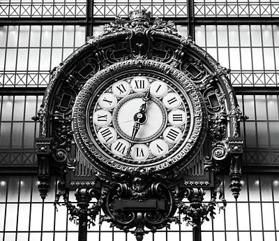 Photograph - Orsay Museum Great Ornate Interior Gold Clock Masterpiece By Victor Laloux Paris Black And White by Shawn O'Brien