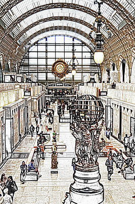 Digital Art - Orsay Museum Interior Paris France Colored Pencil Digital Sketch by Shawn O'Brien