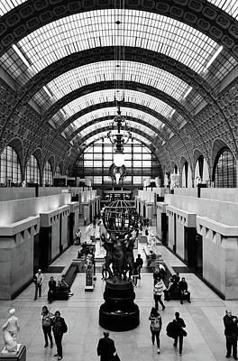 Photograph - Orsay Museum Symmetric View Of Interior Hall Paris France Black And White by Shawn O'Brien