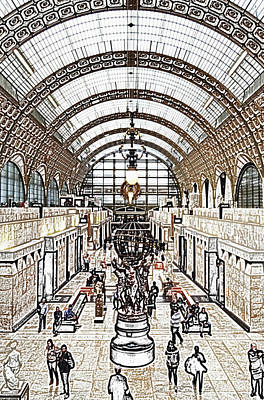 Digital Art - Orsay Museum Symmetric View Of Interior Hall Paris France Colored Pencil Digital Sketch by Shawn O'Brien