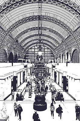 Digital Art - Orsay Museum Symmetric View Of Interior Hall Paris France Digital Monochrome by Shawn O'Brien