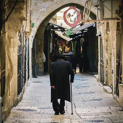 Photograph - Orthodox Jewish Man Walking In Jewish Quarter Of Jerusalem by Alexandre Rotenberg