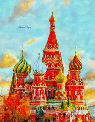 Religion Digital Art - Ortodox Moscow  - Val D'orcia Style -  - Da by Leonardo Digenio