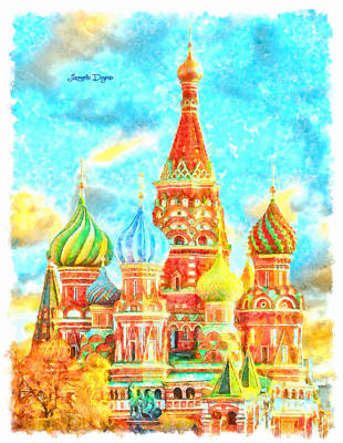 Moscow Digital Art - Ortodox Moscow  - Watercolor Style -  - Da by Leonardo Digenio