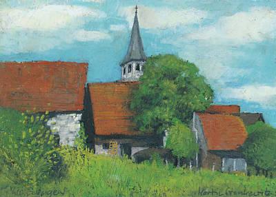 Painting - Ortsansicht Lienzingen Oelpastell Studie by Martin Stankewitz