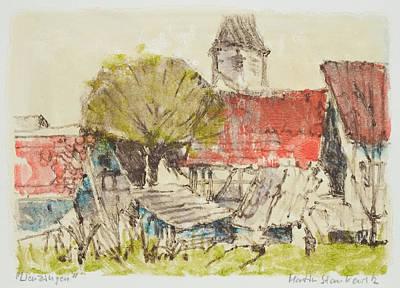 Painting - Ortsrand Lienzingen Monotypie by Martin Stankewitz