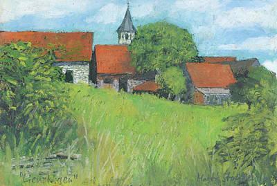 Painting - Ortsrand Lienzingen, Oelpastel Landschaft by Martin Stankewitz