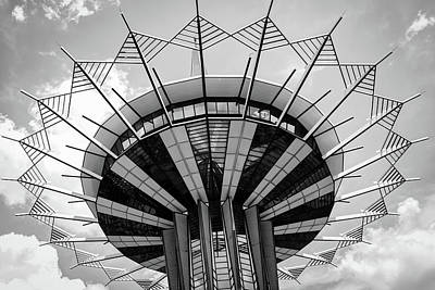 Photograph - Oru Prayer Tower Crown Of Thorns - Black And White - Tulsa Ok by Gregory Ballos