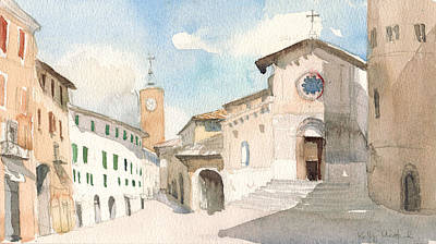 Town Square Wall Art - Painting - Orvieto Square by Kelly Medford
