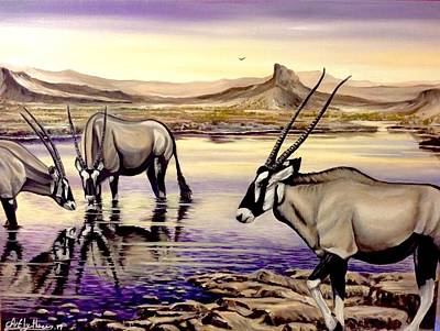Painting - Oryx At Sunset by Art By Three Sarah Rebekah Rachel White