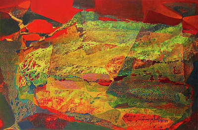 Cosmic Space Painting - Os1957bo002 Abstract Landscape Of Potosi Bolivia 29x18 by Alfredo Da Silva