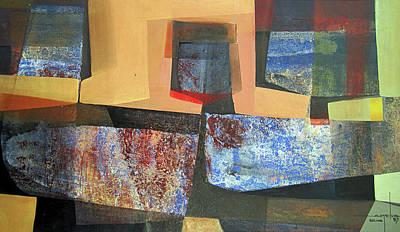 Cosmic Space Painting - Os1957bo011 Abstract Landscape Of Potosi Bolivia 18 X 33.3 by Alfredo Da Silva