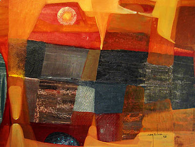 Cosmic Space Painting - Os1958bo004 Abstract Landscape Potosi 23x17 by Alfredo Da Silva