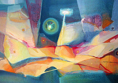 Cosmic Space Painting - Os1959ar003 Abstract Landscape Buenos Aires 24.25x17 by Alfredo Da Silva